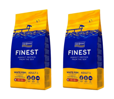 Fish4Dogs Dog Food: Adult Finest White Fish Large Kibble 2x12kg